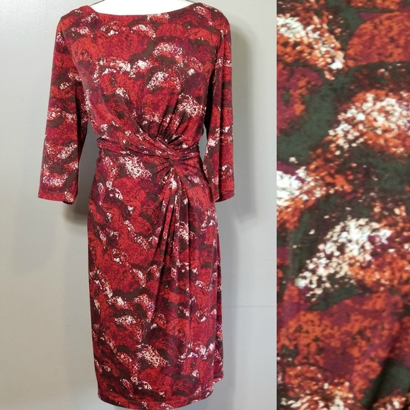 8921b2227aa CATO Warm Tone Mock Wrap Dress Plus Size 18W